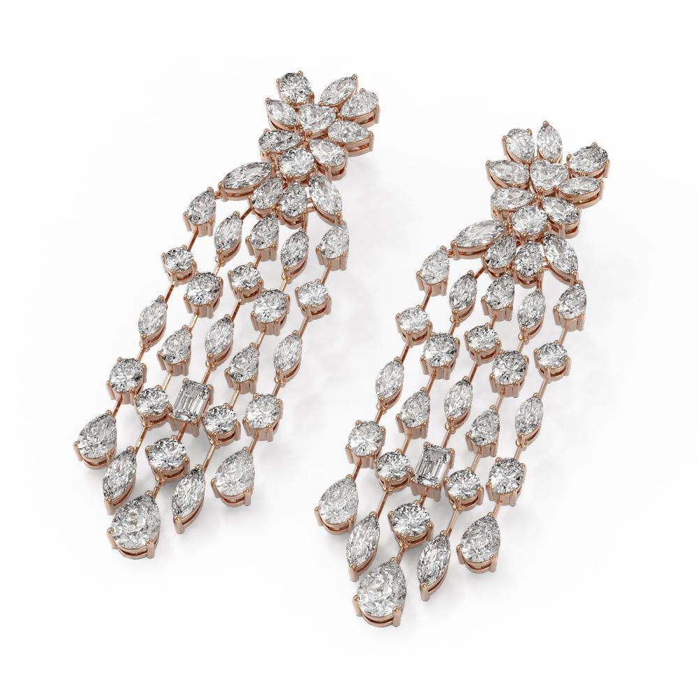 20.46 ctw Mixed Cut Diamond Designer Earrings 18K Rose Gold - REF-2979F3M