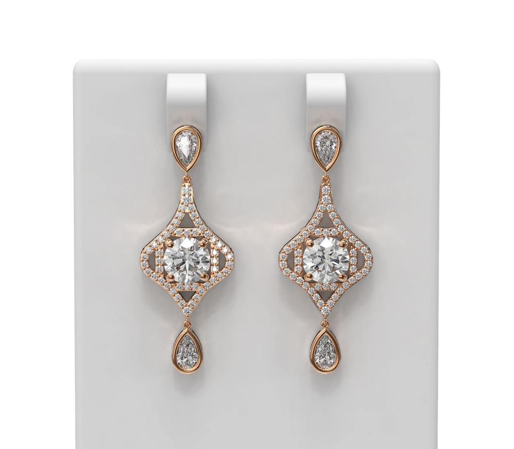 3.83 ctw Diamond Earrings 18K Rose Gold - REF-830A5N