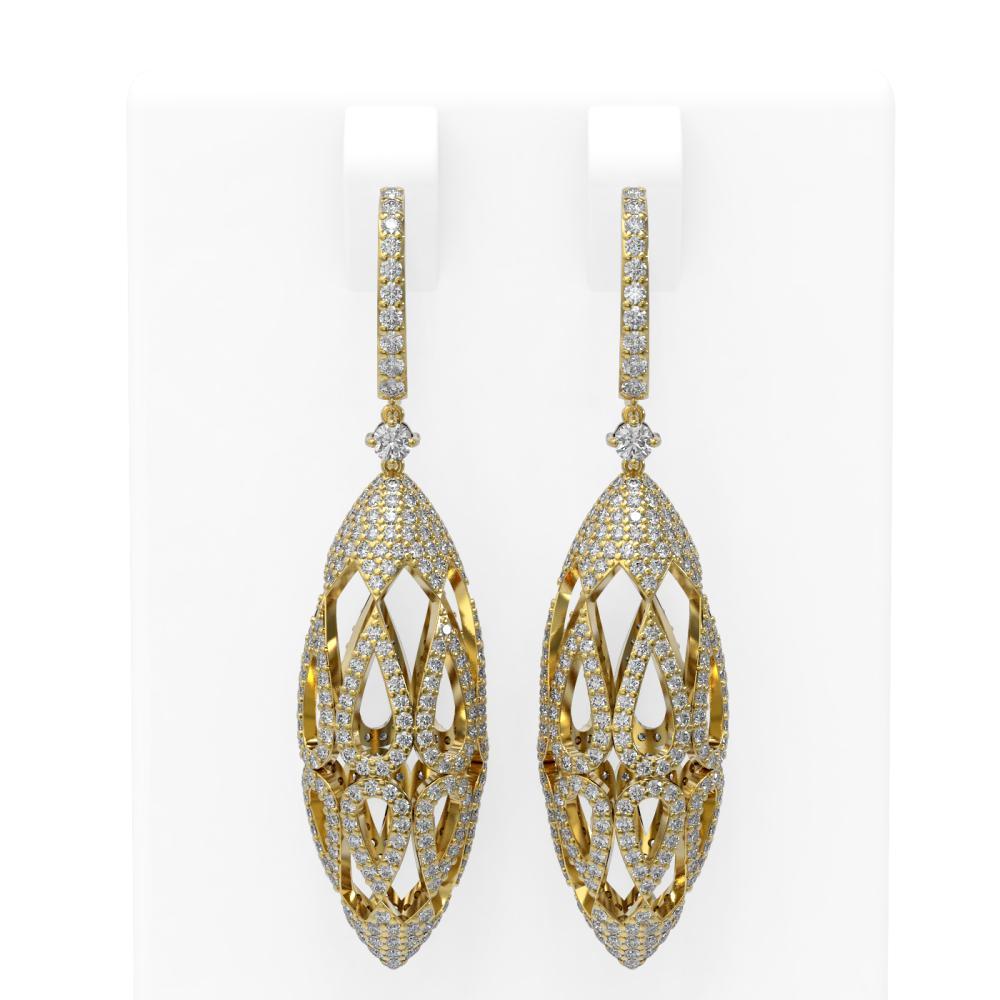 5.63 ctw Diamond Earrings 18K Yellow Gold - REF-508A4N