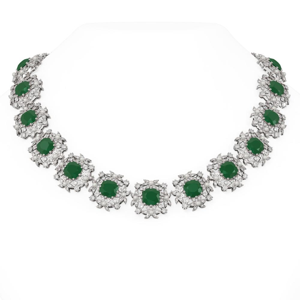118.91 ctw Emerald & Diamond with Pearl Necklace 18K White Gold - REF-3545M5G