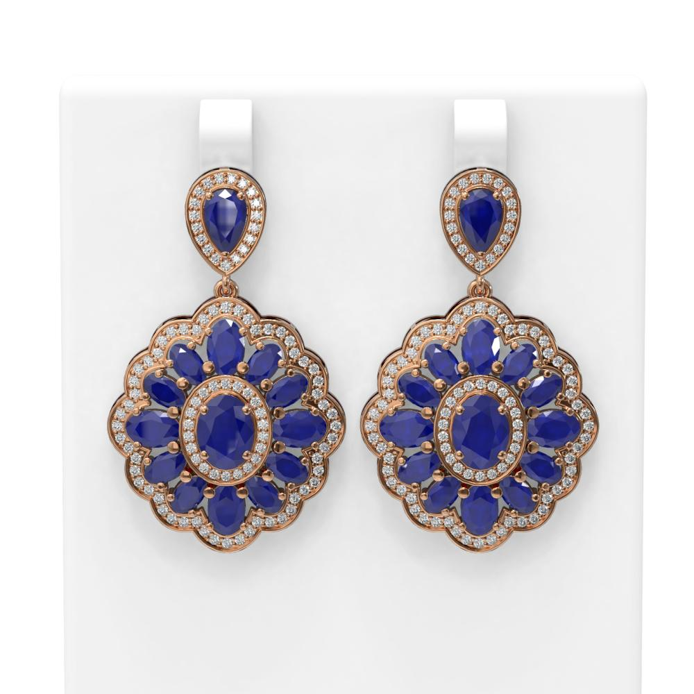 19.42 ctw Sapphire & Diamond Earrings 18K Rose Gold - REF-344N2F