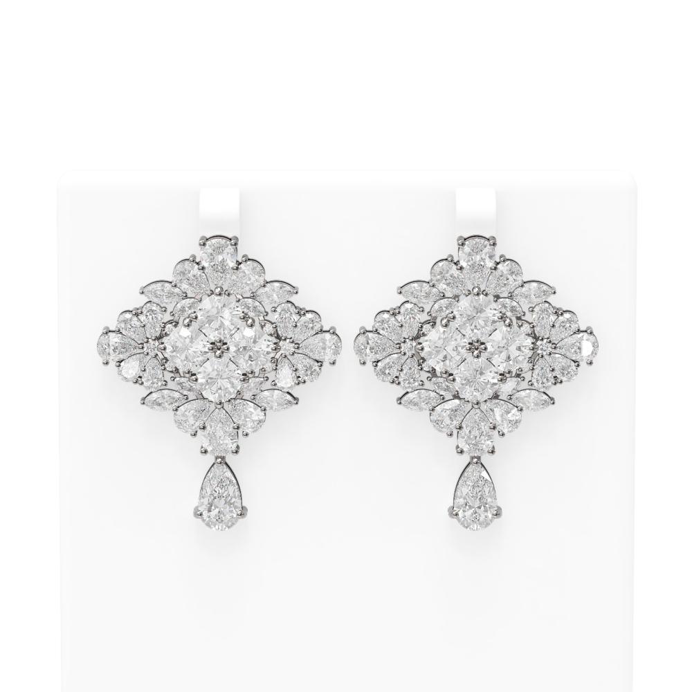 31.48 ctw Diamond Earrings 18K White Gold - REF-8358N8F
