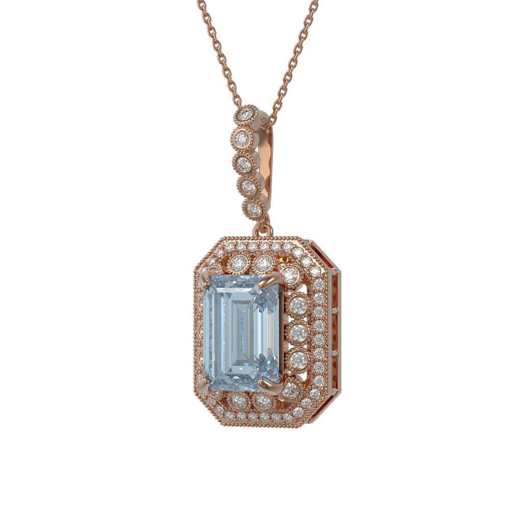 12.5 ctw Sky Topaz & Diamond Victorian Necklace 14K Rose Gold - REF-199N3F