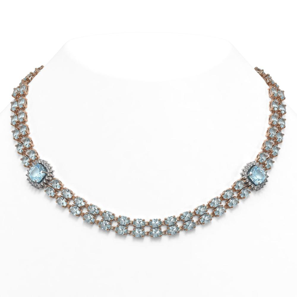 61.05 ctw Sky Topaz & Diamond Necklace 14K Rose Gold - REF-430A2N