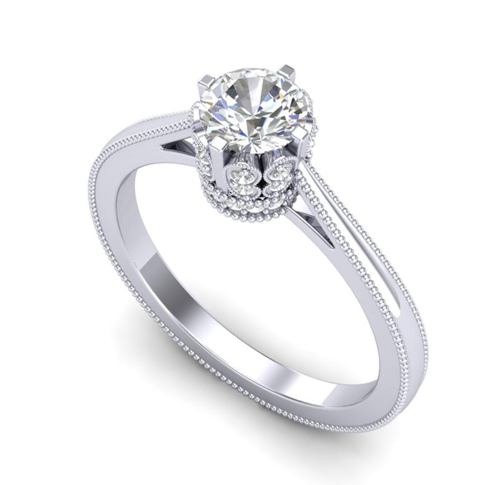0.81 ctw VS/SI Diamond Art Deco Ring 18k White Gold - REF-140A9N