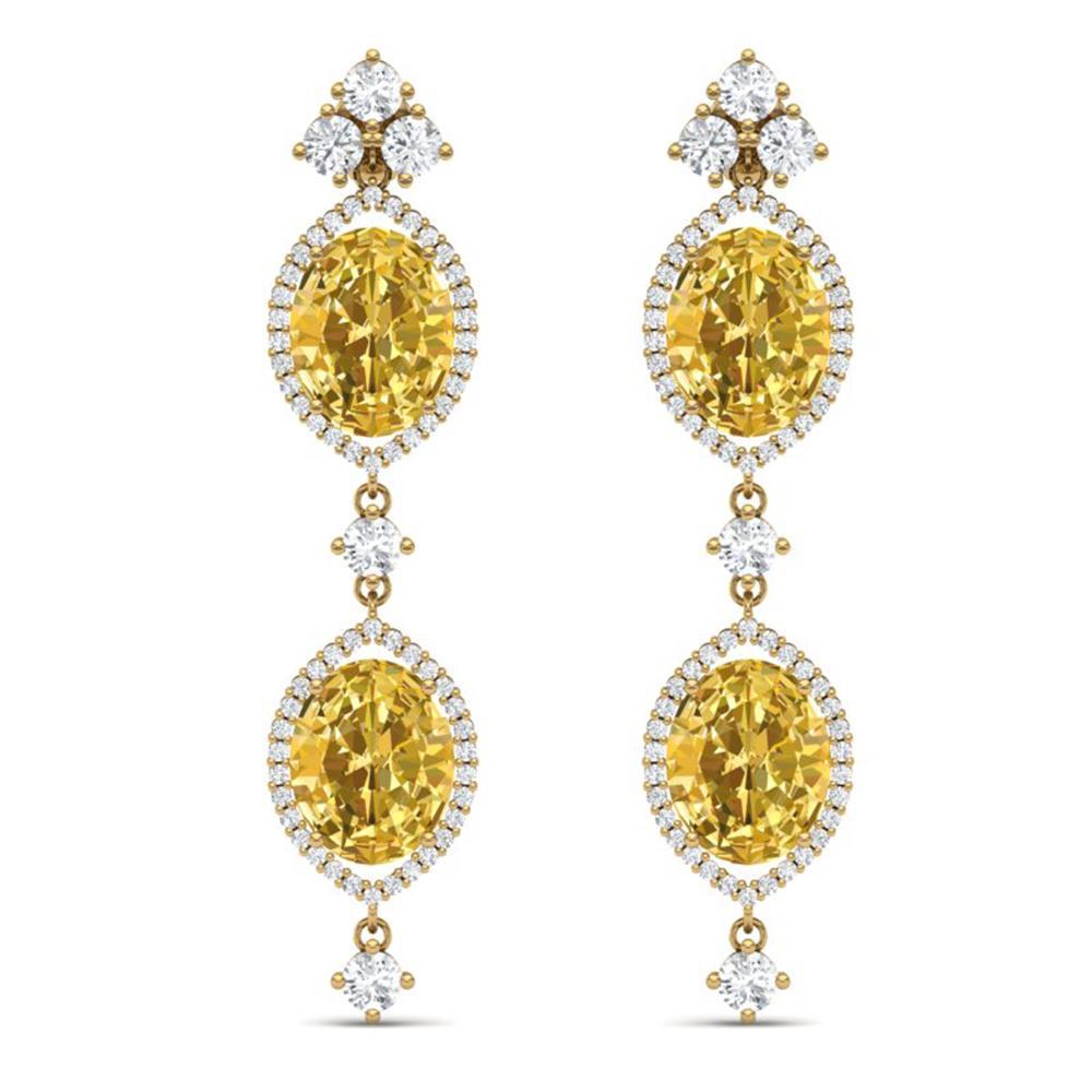 12.21 ctw Canary Citrine & VS Diamond Earrings 18K Yellow Gold - REF-254H5R