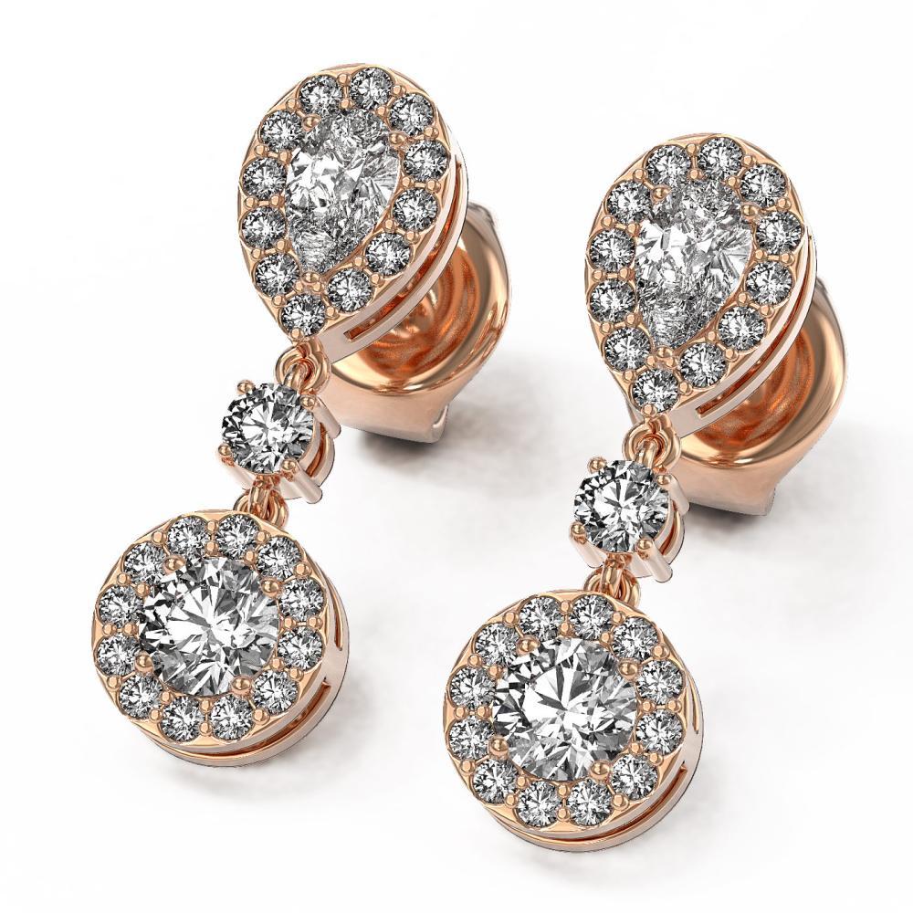 1.74 ctw Pear Diamond Designer Earrings 18K Rose Gold - REF-193H8R