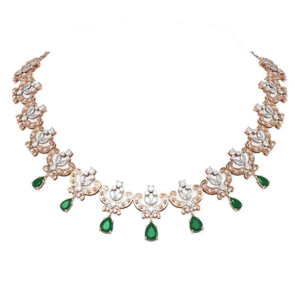 47.93 ctw Emerald & Diamond Necklace 18K Rose Gold - REF-4454G5W