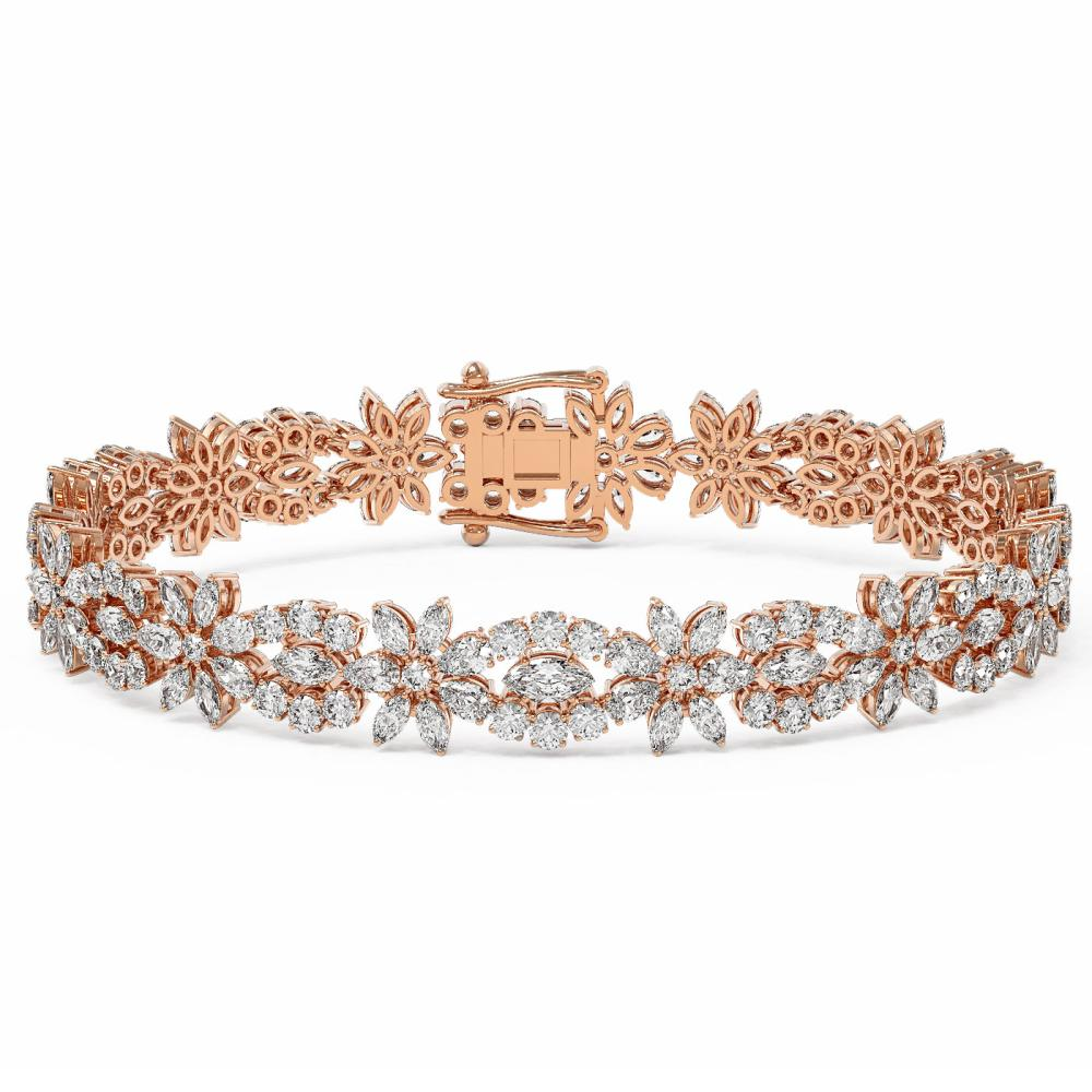 21 ctw Marquise Cut Diamond Designer Bracelet 18K Rose Gold - REF-2182Y8X