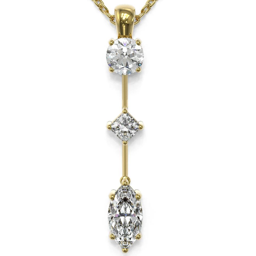 0.9 ctw Marquise Cut Diamond Designer Necklace 18K Yellow Gold - REF-121K2Y