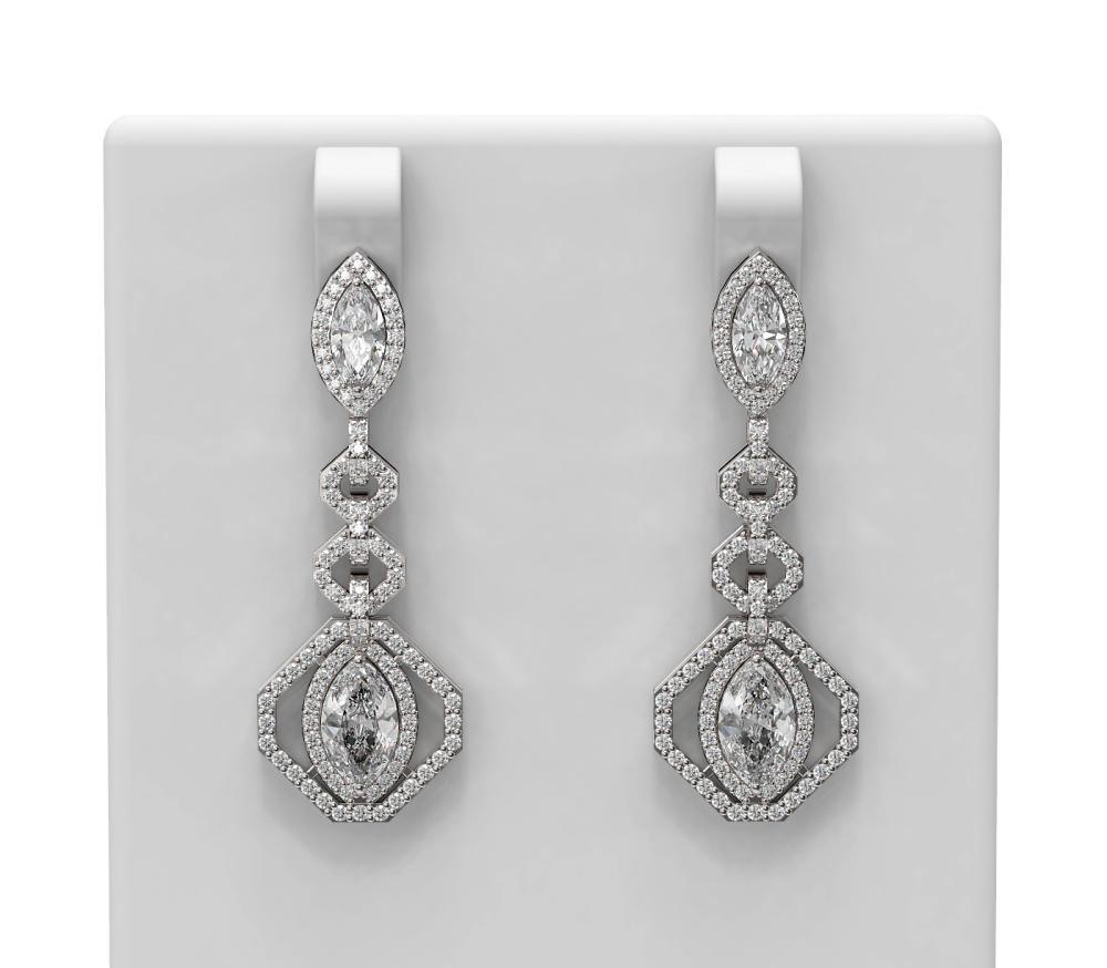 3.82 ctw Marquise Diamond Earrings 18K White Gold - REF-561M3G