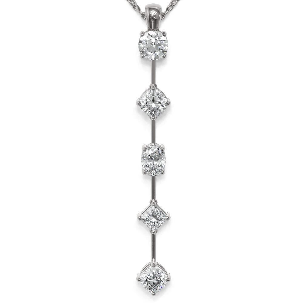 1.45 ctw Mix cut Diamonds Designer Necklace 18K White Gold - REF-163M6G