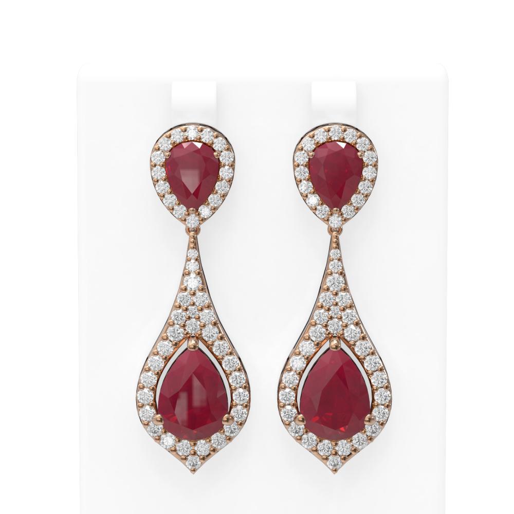 13.6 ctw Ruby & Diamond Earrings 18K Rose Gold - REF-343X6A
