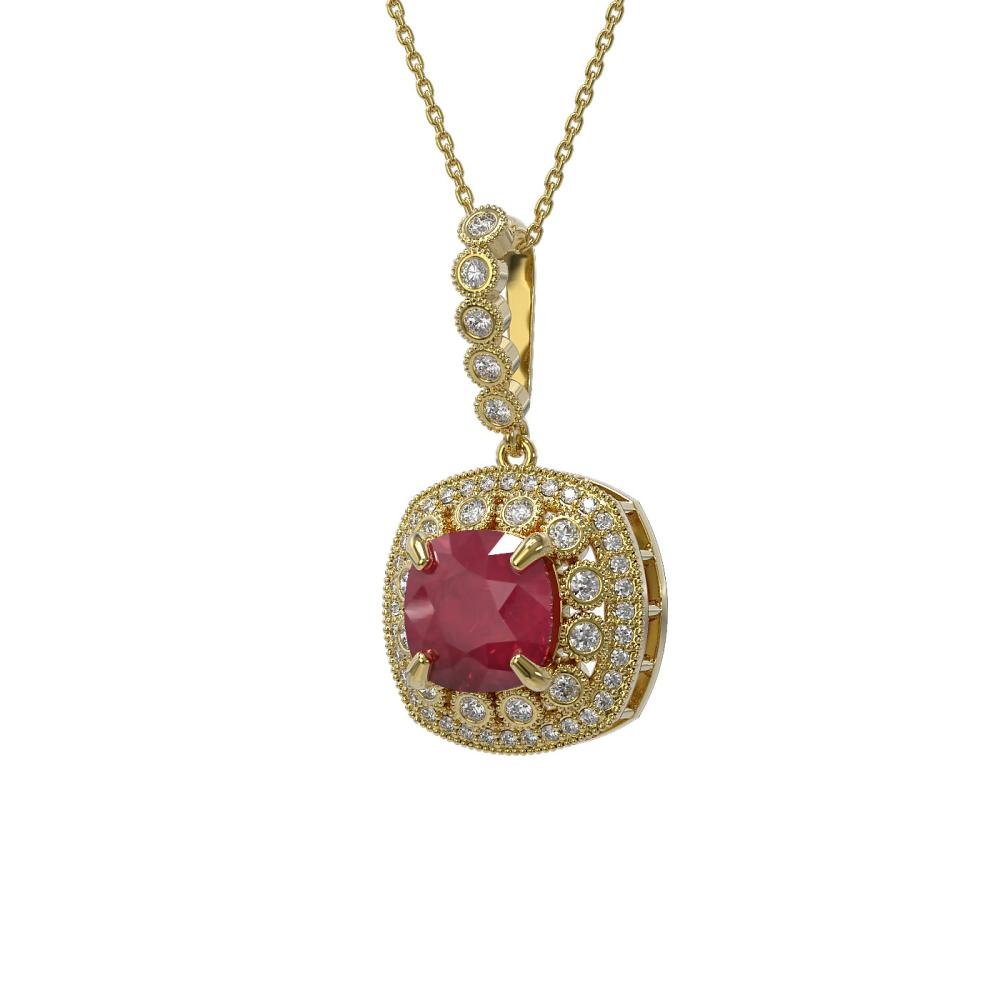 6.58 ctw Certified Ruby & Diamond Victorian Necklace 14K Yellow Gold - REF-209X3A