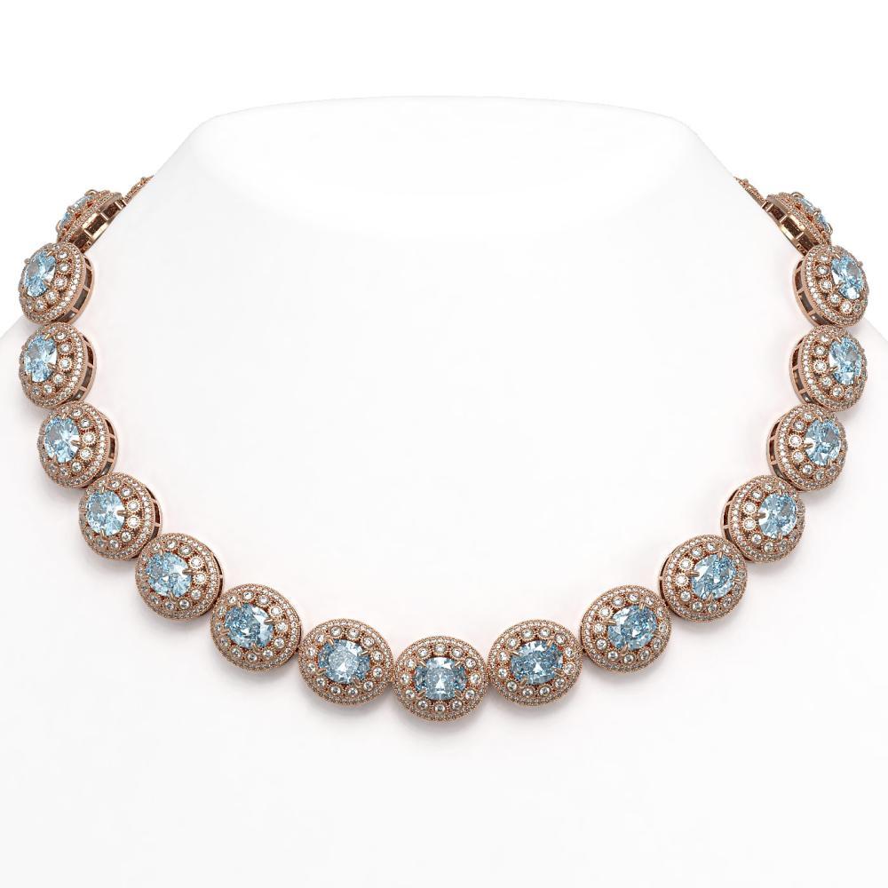 90.5 ctw Aquamarine & Diamond Victorian Necklace 14K Rose Gold - REF-3020R2K