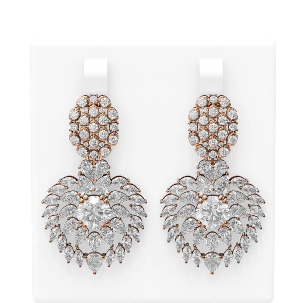 21.7 ctw Diamond Earrings 18K Rose Gold - REF-3900H8R