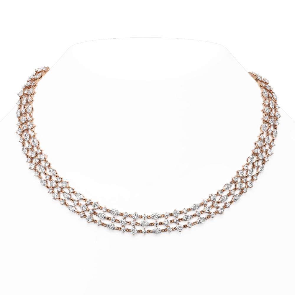 40 ctw Mix Cut Diamonds Designer Necklace 18K Rose Gold - REF-4894W4H