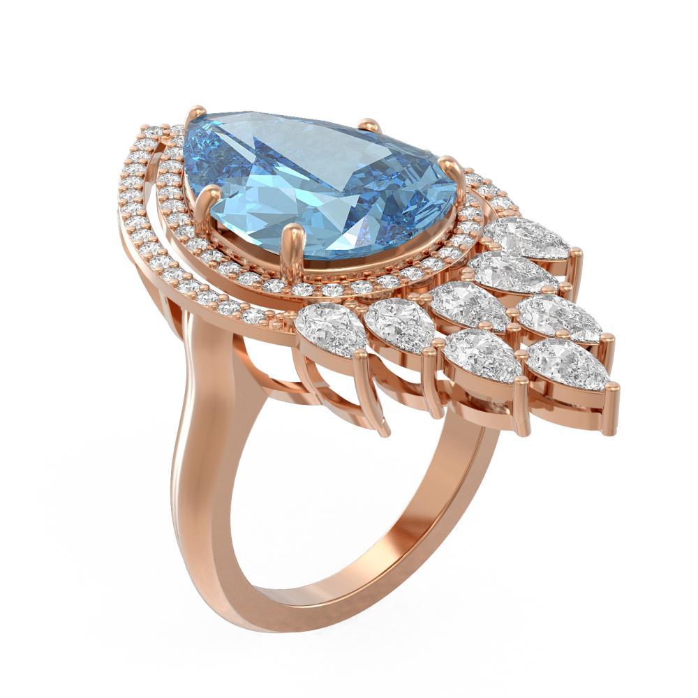 13.86 ctw Blue Topaz & Diamond Ring 18K Rose Gold - REF-426A2N