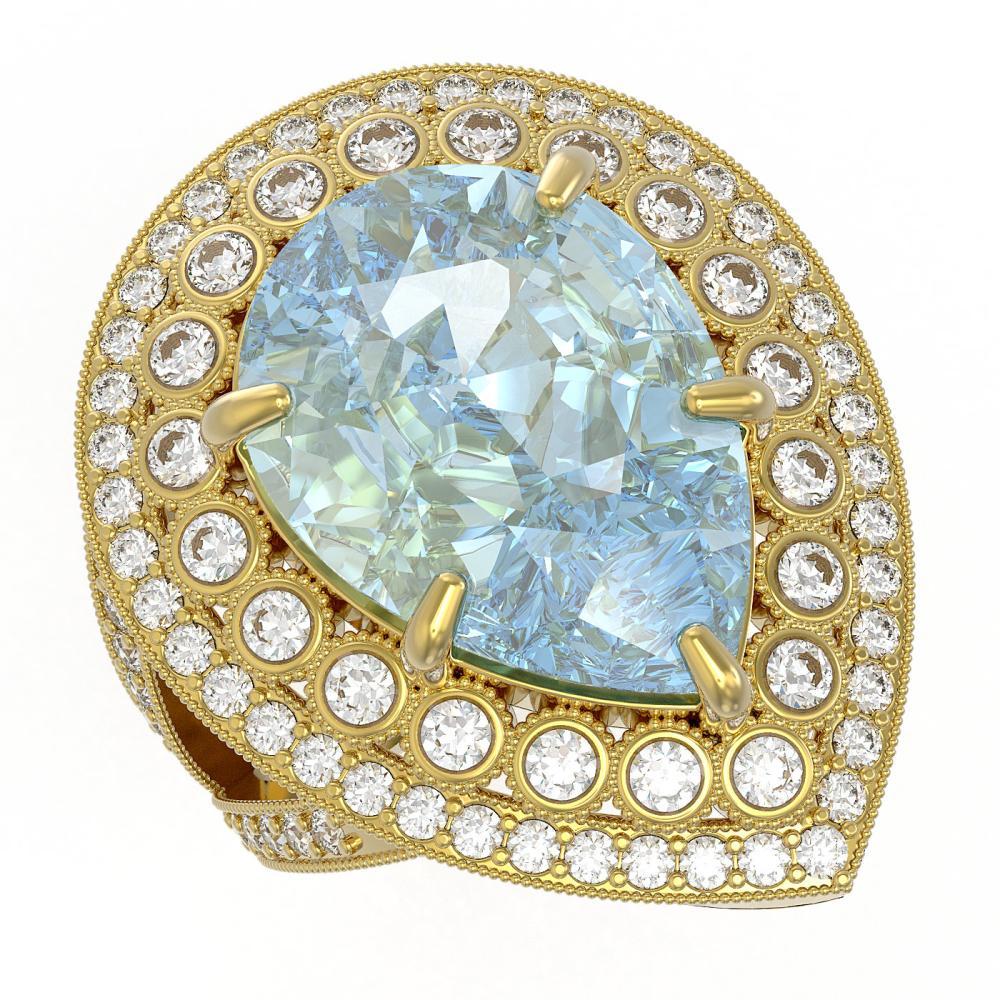 18.04 ctw Certified Sky Topaz & Diamond Victorian Ring 14K Yellow Gold - REF-251X6A