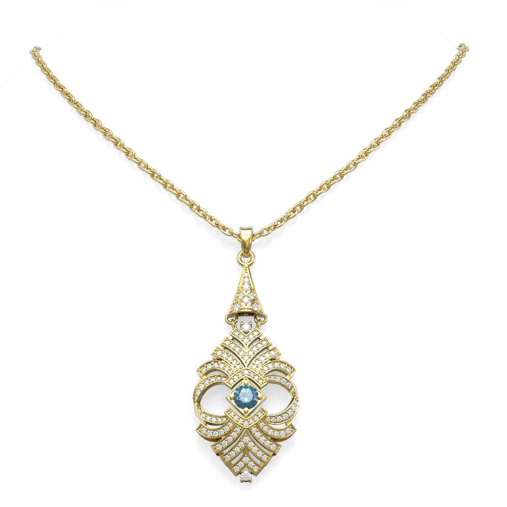 3.05 ctw Intense Blue Diamond Necklace 18K Yellow Gold - REF-325G5W