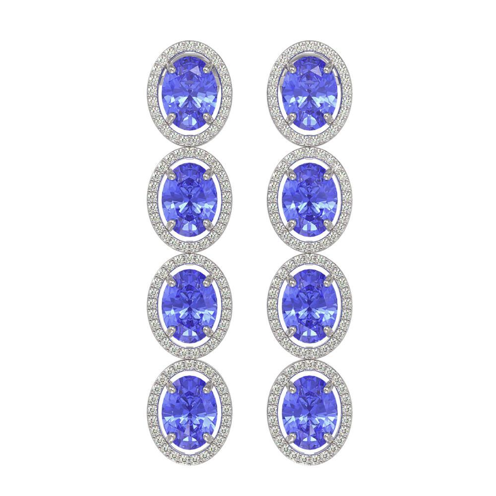 13.64 ctw Tanzanite & Diamond Micro Pave Halo Earrings 10k White Gold - REF-269Y3X