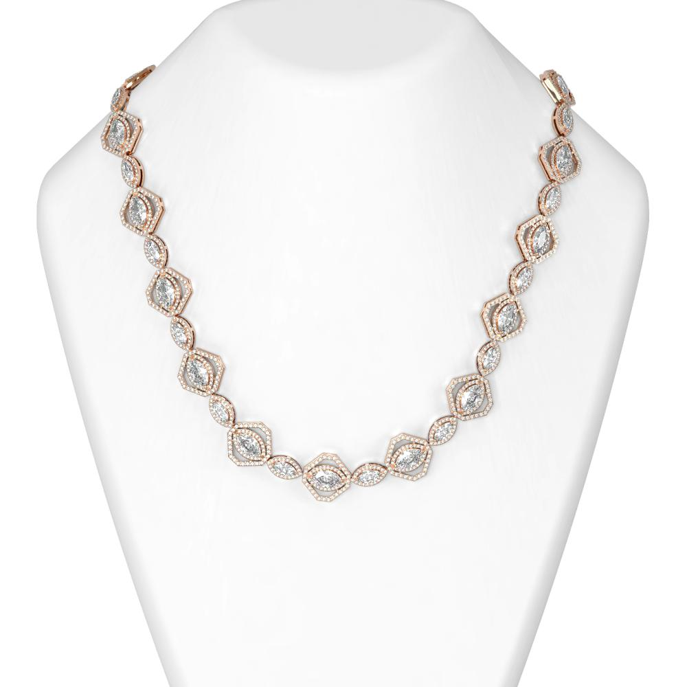 28.89 ctw Marquise Diamond Necklace 18K Rose Gold - REF-5301Y8X