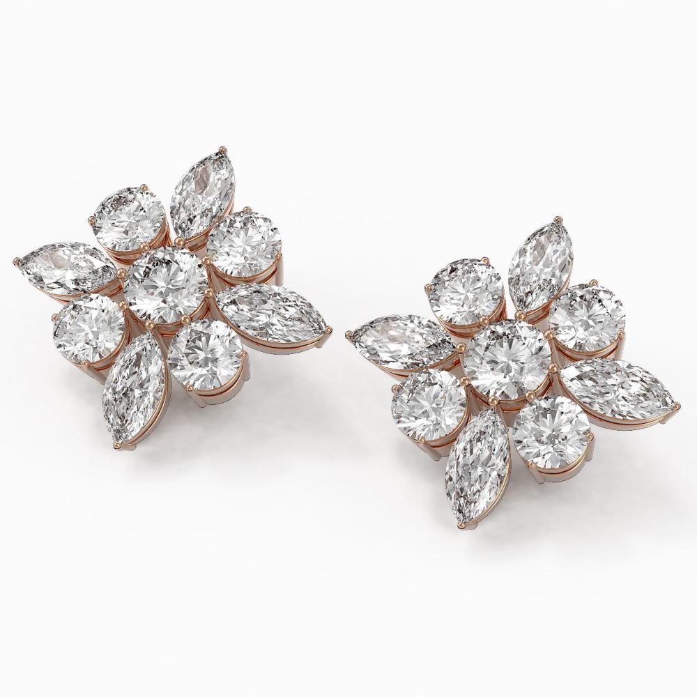9.86 ctw Marquise Cut Diamond Designer Earrings 18K Rose Gold - REF-1772Y4X