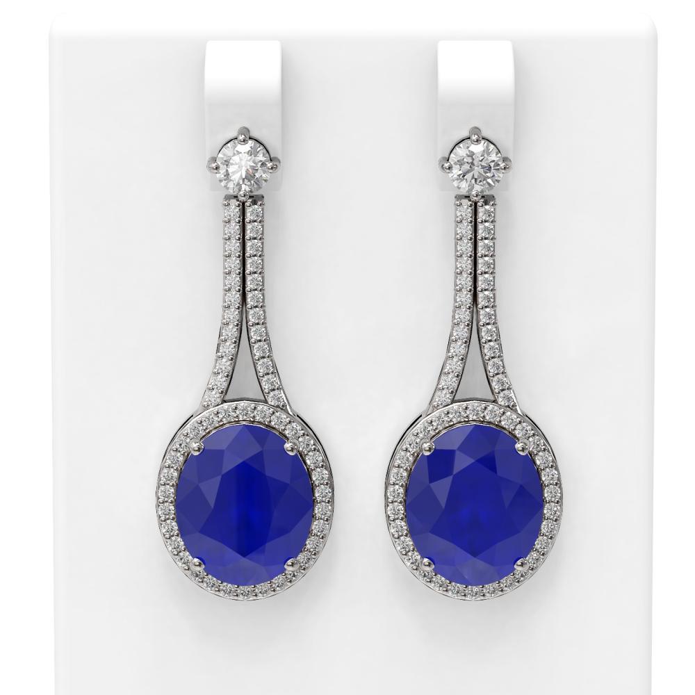 15.53 ctw Sapphire & Diamond Earrings 18K White Gold - REF-360Y2X