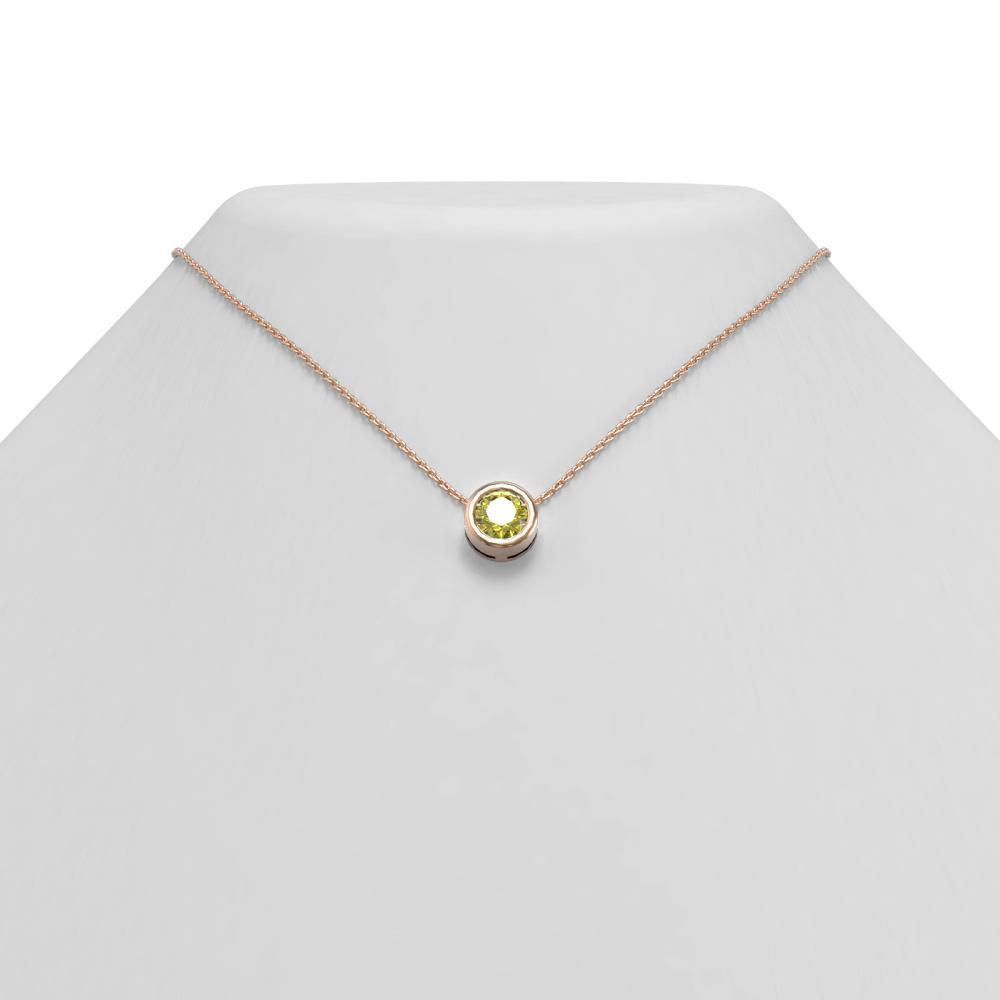 1 ctw Fancy Yellow Diamond Necklace 18K Rose Gold - REF-258X2A