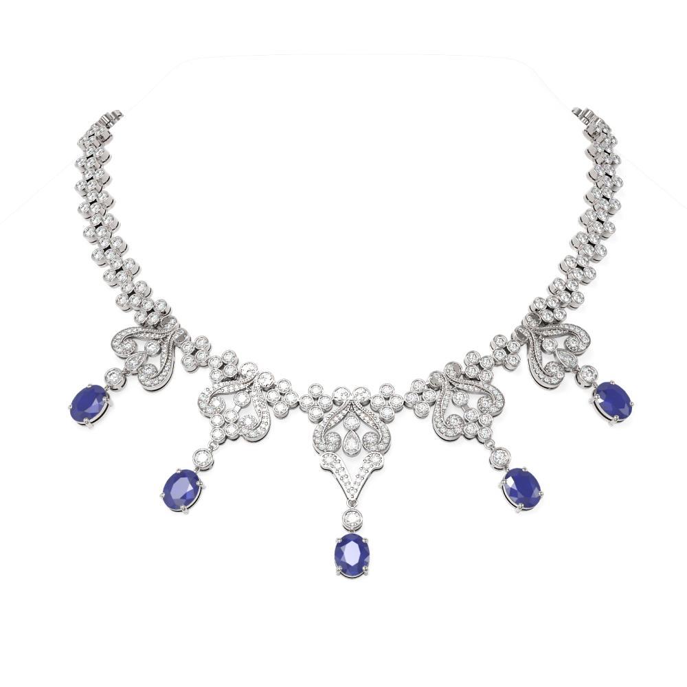 41.21 ctw Sapphire & Diamond Necklace 18K White Gold - REF-2290W9H