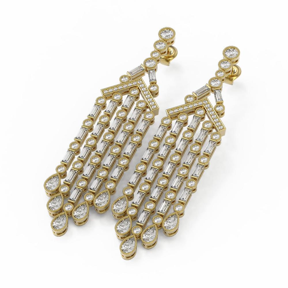 11.37 ctw Mixed Cut Diamond Designer Earrings 18K Yellow Gold - REF-1345A8N