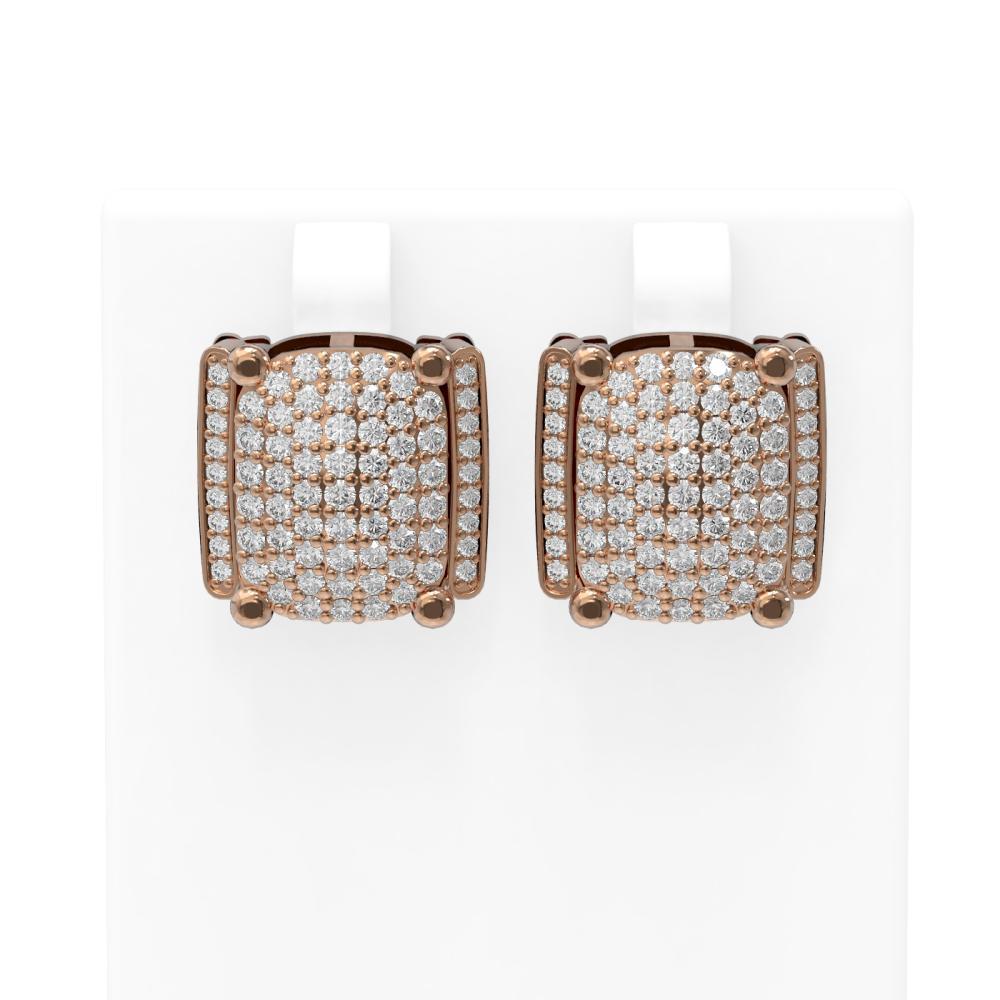 3.26 ctw Diamond Earrings 18K Rose Gold - REF-272M9G