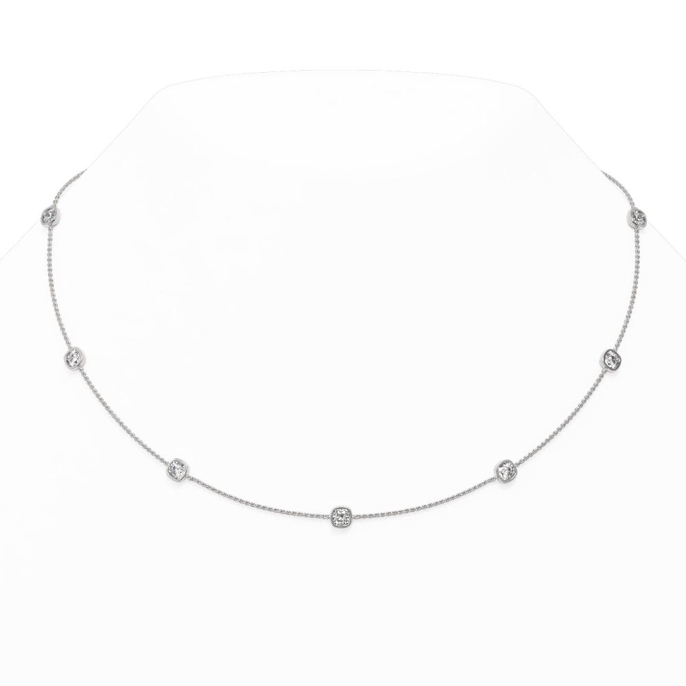 3 ctw Cushion cut Diamond Station Necklace 18K White Gold - REF-507G3W