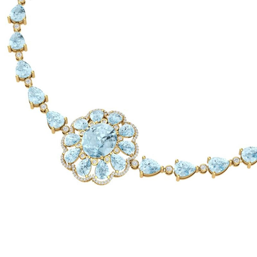 75.99 ctw Sky Topaz & VS Diamond Necklace 18K Yellow Gold - REF-509R3K