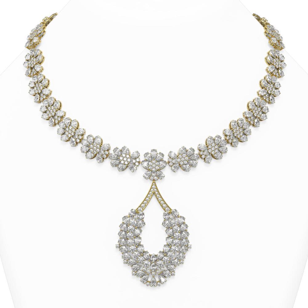 129 ctw Pear Cut Diamond Designer Necklace 18K Yellow Gold - REF-19781A6N