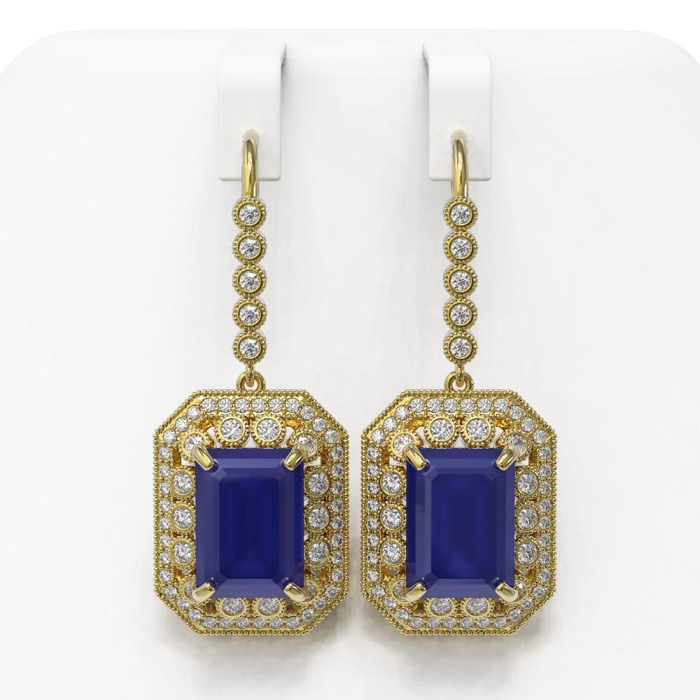 23.79 ctw Sapphire & Diamond Victorian Earrings 14K Yellow Gold - REF-446Y2X