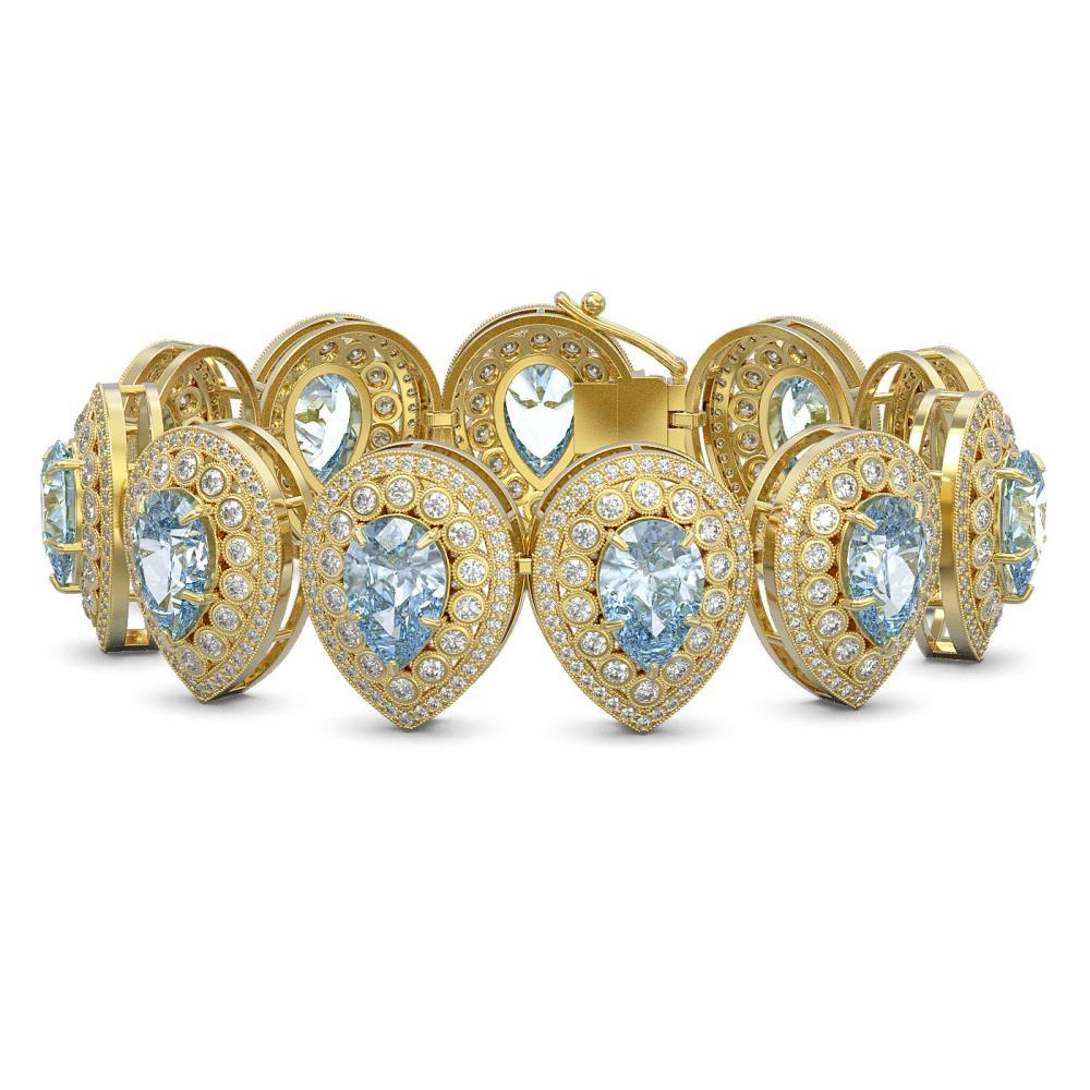 42.94 ctw Aquamarine & Diamond Victorian Bracelet 14K Yellow Gold - REF-1722K9Y