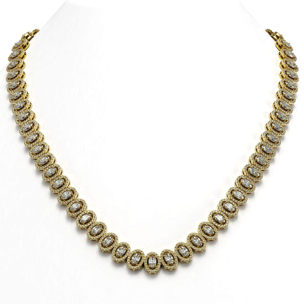 28.47 ctw Oval Cut Diamond Micro Pave Necklace 18K Yellow Gold - REF-2389W2H