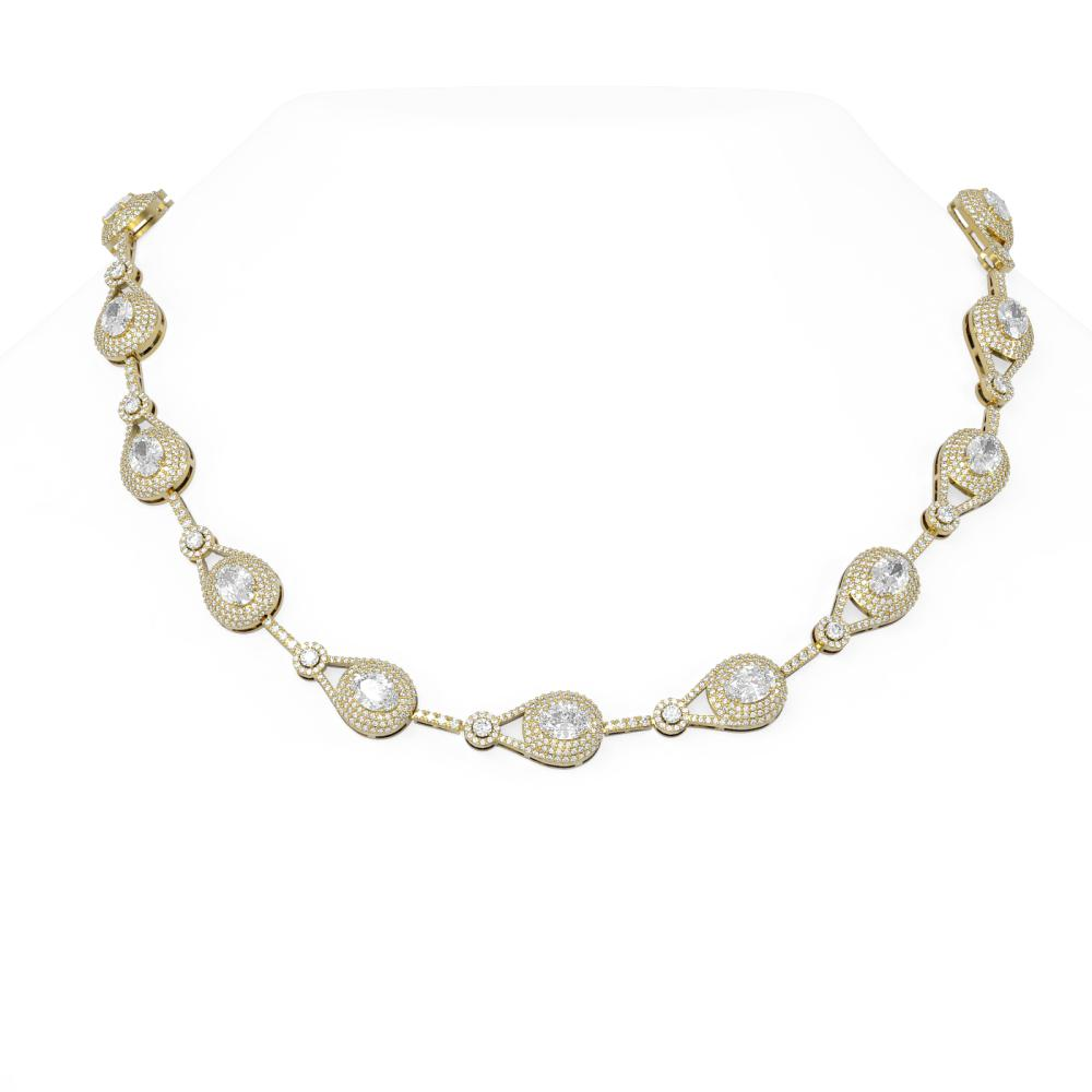 26 ctw Oval Diamond Necklace 18K Yellow Gold - REF-3486G8W