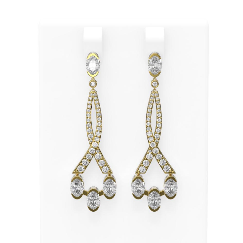 5.45 ctw Oval Diamond Earrings 18K Yellow Gold - REF-831N2F