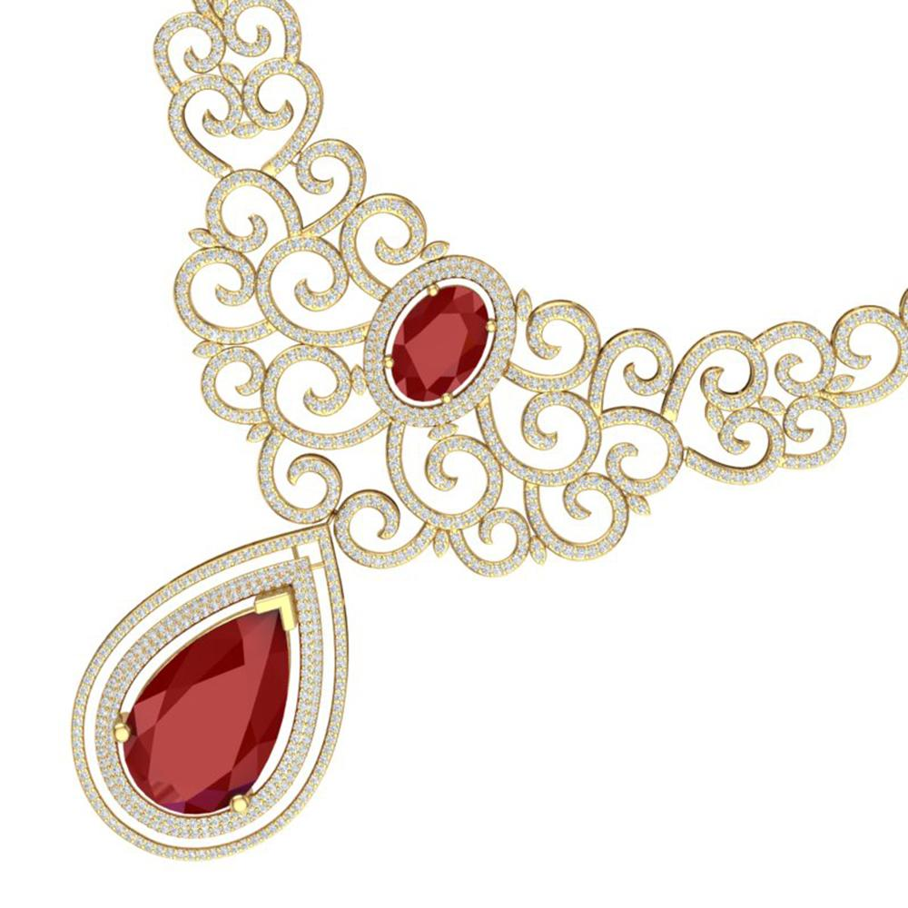 87.52 ctw Ruby & VS Diamond Necklace 18K Yellow Gold - REF-2000K2Y