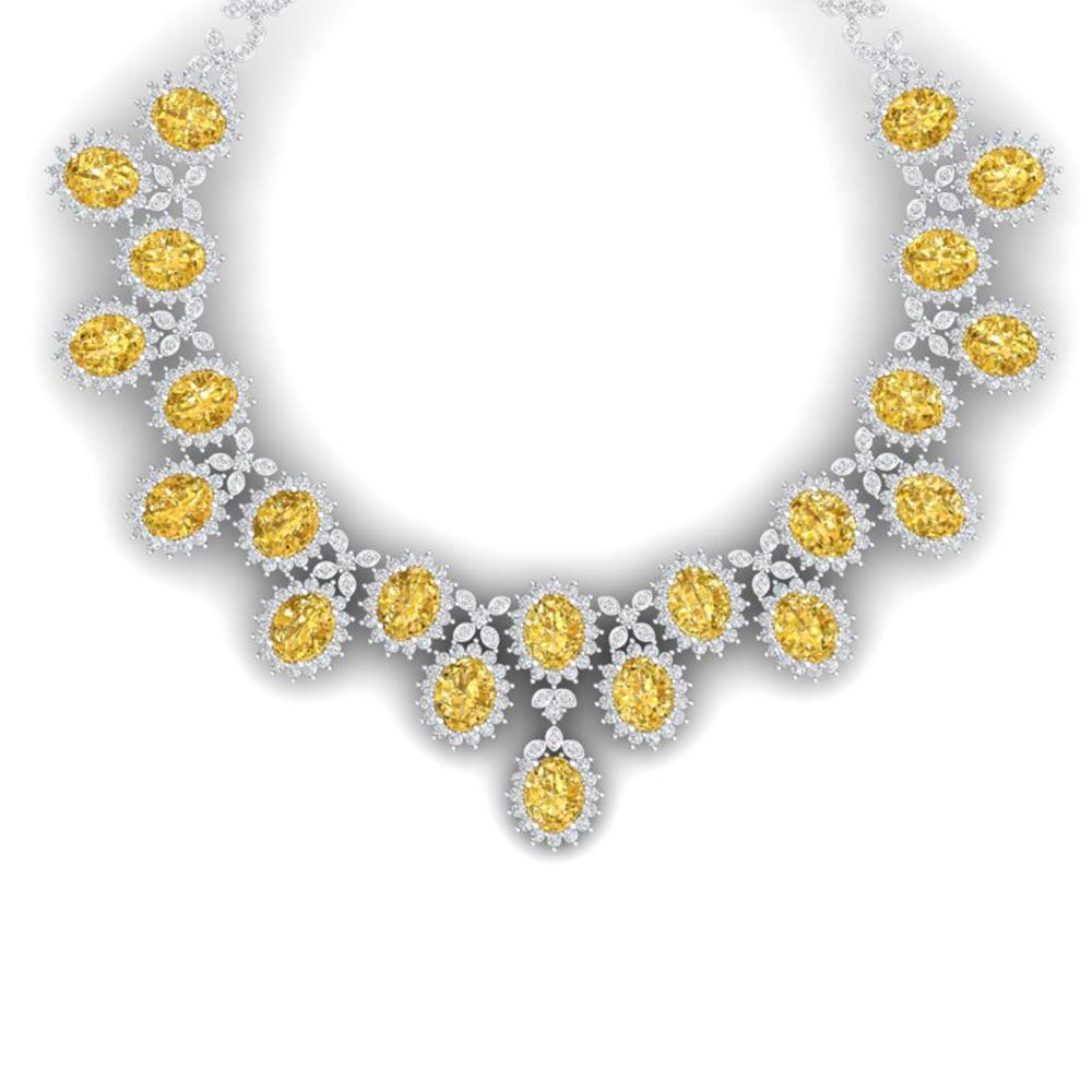 76 ctw Canary Citrine & VS Diamond Necklace 18K White Gold - REF-1381H8R