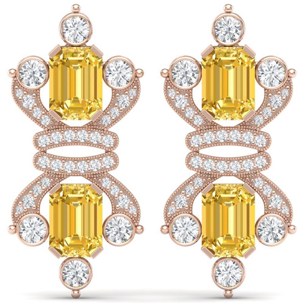 25.35 ctw Canary Citrine & VS Diamond Earrings 18K Rose Gold - REF-490H9R