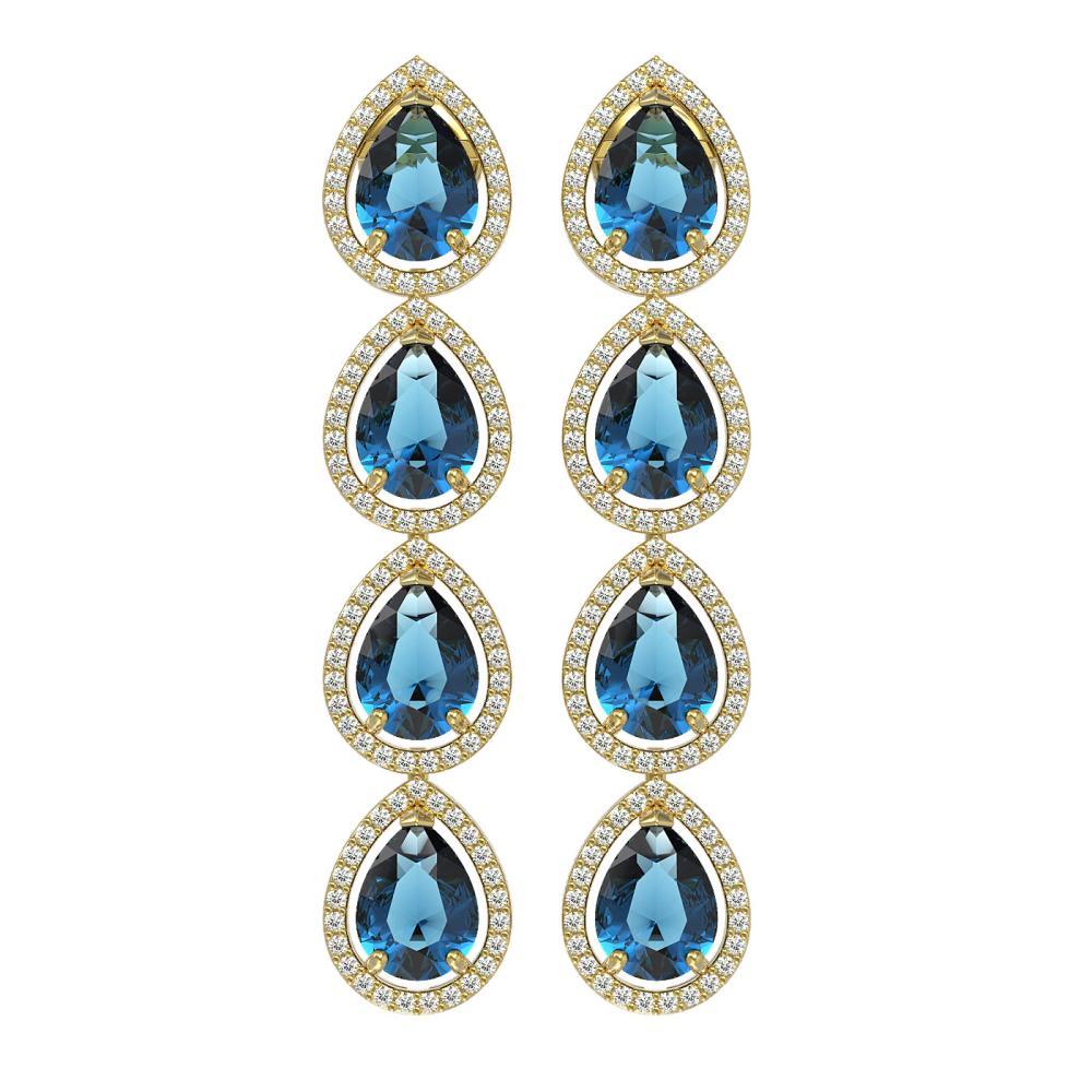11.2 ctw London Topaz & Diamond Micro Pave Halo Earrings 10k Yellow Gold - REF-172W8H