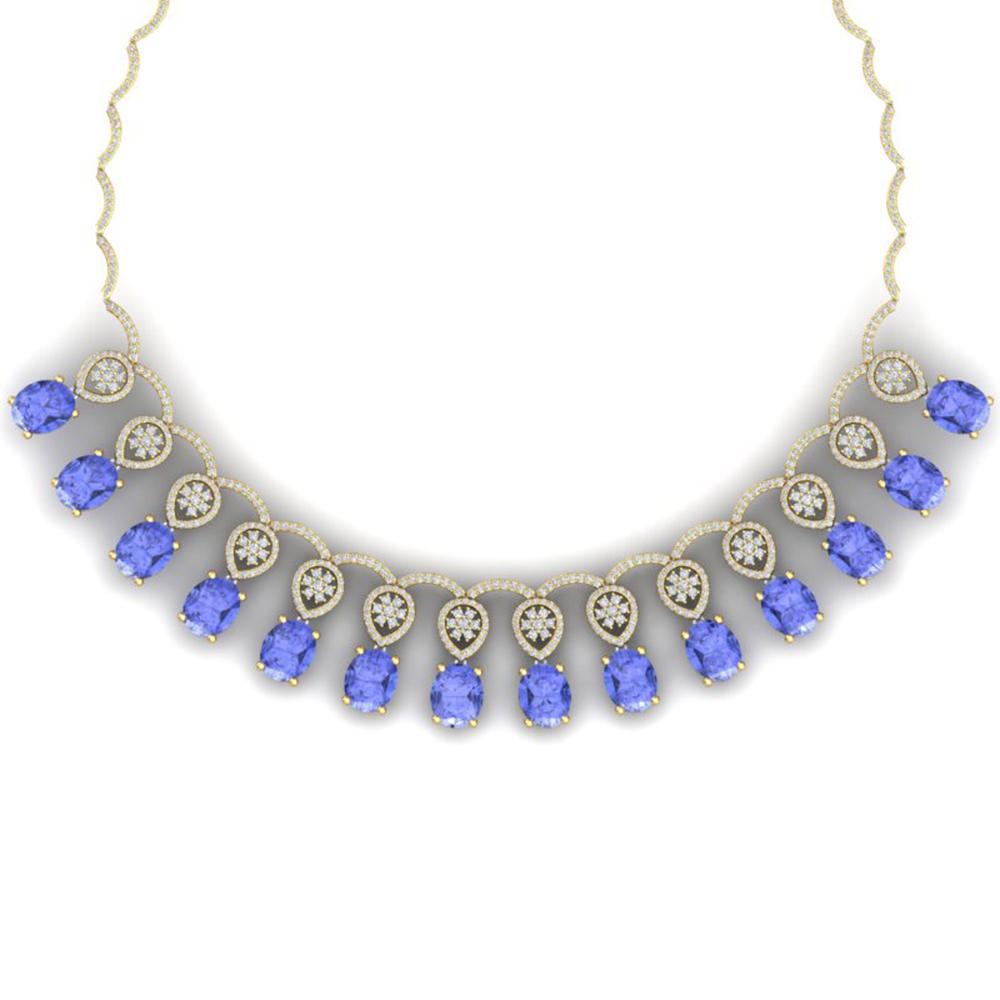 45.56 ctw Tanzanite & VS Diamond Necklace 18K Yellow Gold - REF-1400M2G