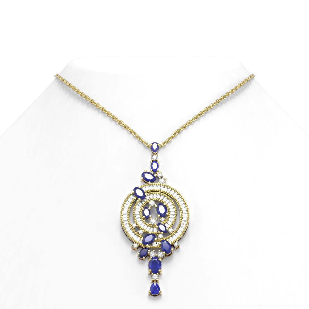 11.47 ctw Sapphire & Diamond Necklace 18K Yellow Gold - REF-470F2M