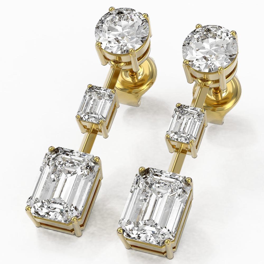5 ctw Emerald Cut Diamond Designer Earrings 18K Yellow Gold - REF-1762N5F