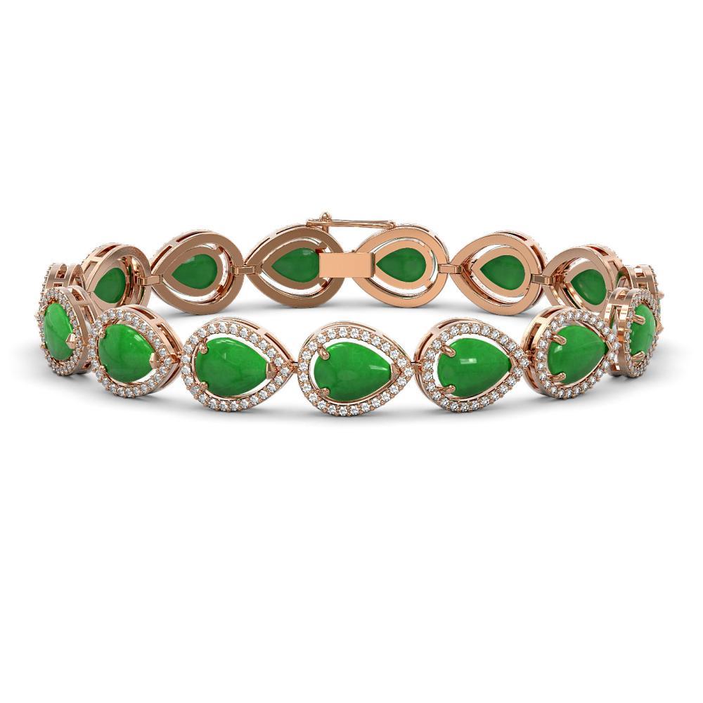 16.55 ctw Jade & Diamond Micro Pave Halo Bracelet 10k Rose Gold - REF-280R2K