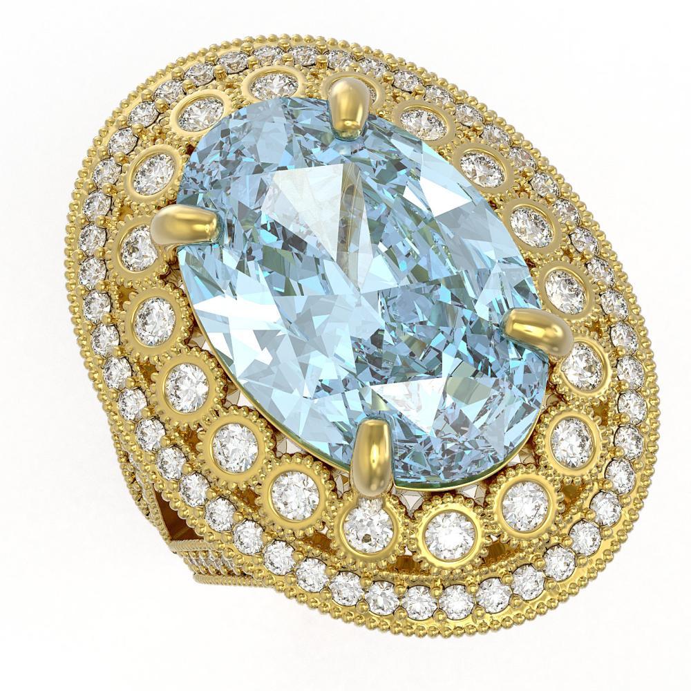 18.82 ctw Certified Sky Topaz & Diamond Victorian Ring 14K Yellow Gold - REF-249X3A
