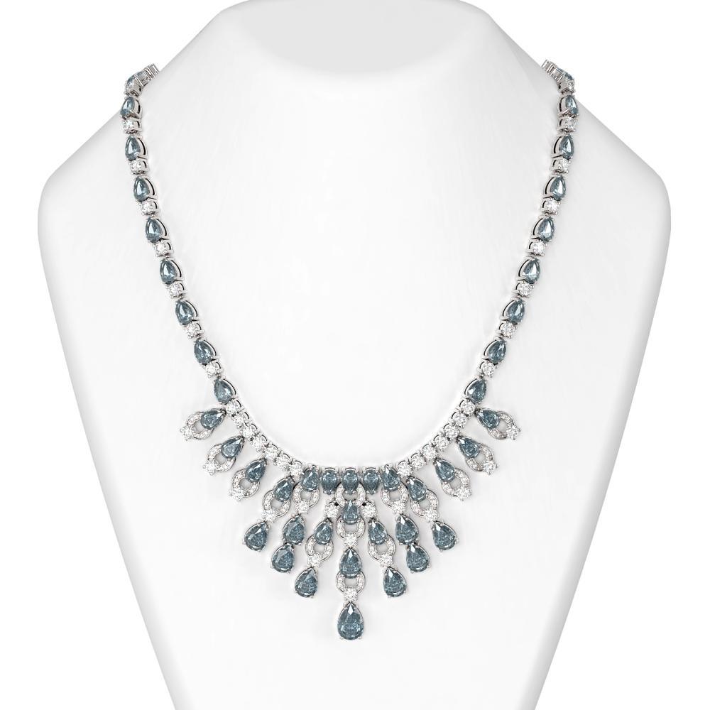 56.26 ctw Blue Topaz & Diamond Necklace 18K White Gold - REF-1709H3R
